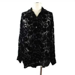 VTG 90'S || Inka Black Burn Out Velvet Blouse Sz L